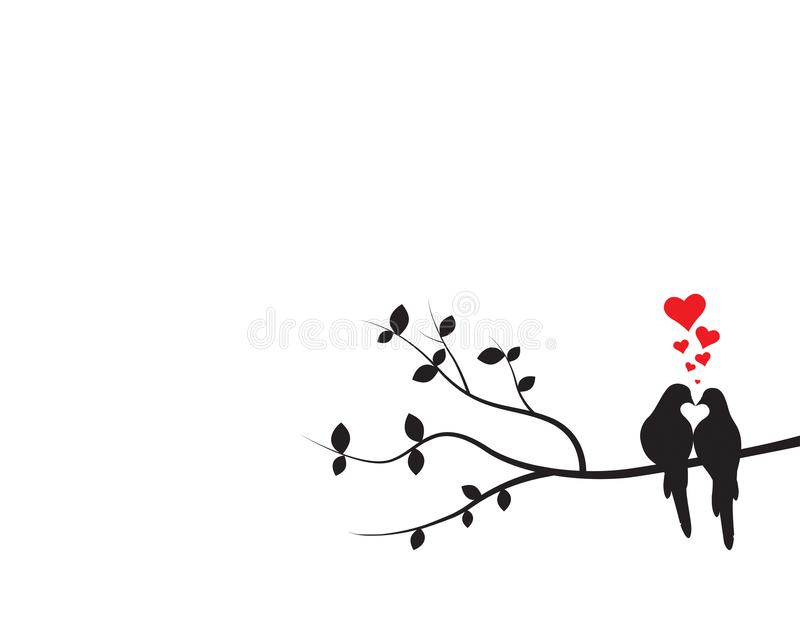 Birds on Branch silhouettes making heart Vector, Wall Decals, Birds Couple in Love, Birds Silhouette on branch and Hearts stock illustration