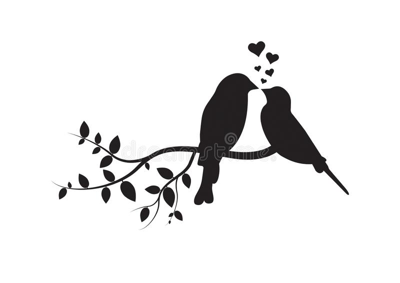 Birds on Branch, Wall Decals, Couple of Birds in Love, Birds Silhouette on branch and Hearts Illustration royalty free illustration