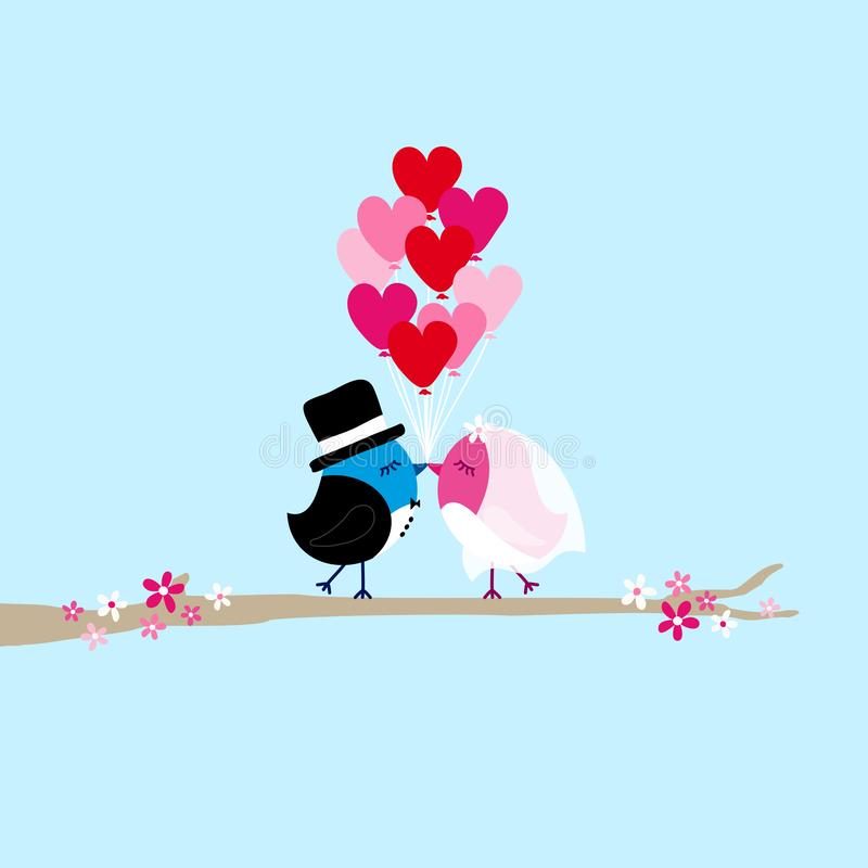 Birds Bride And Groom Holding Nine Heart Balloons On Tree Blue stock illustration