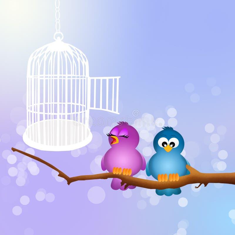 Birds cage. Illustration of birds on tree vector illustration