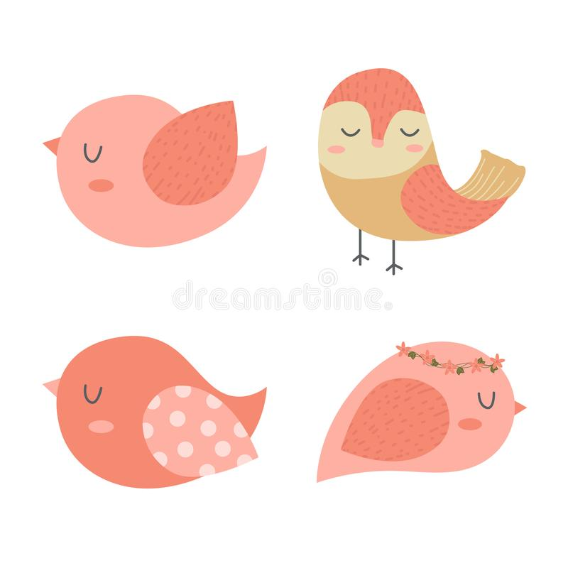 Birds Cartoon Vector , Set of Cute Birds for Design. Decorative card making, wedding invitation and more vector illustration