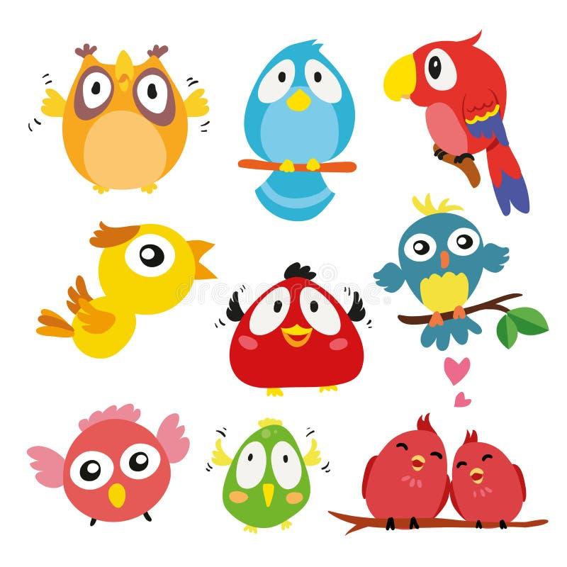 Birds character vector design. Birds collection stock illustration