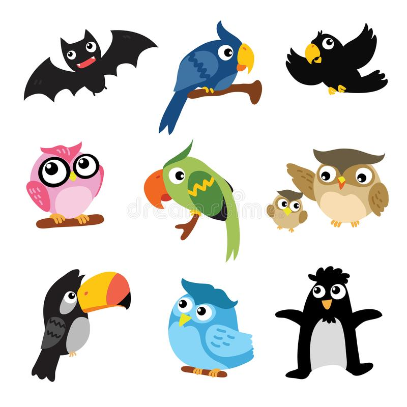 Birds character vector design. Birds collection royalty free illustration