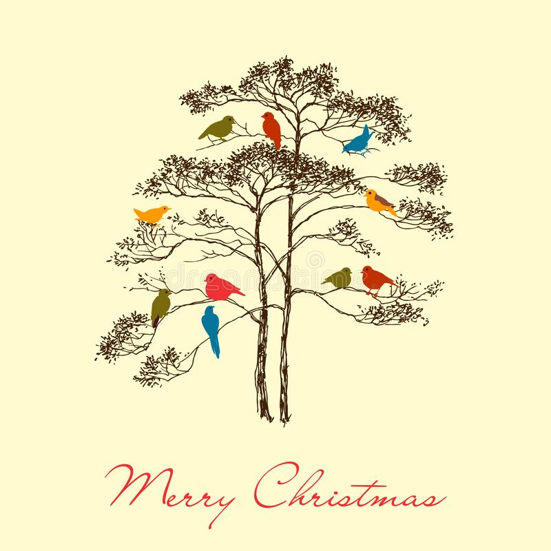 Birds Christmas tree greeting card royalty free illustration