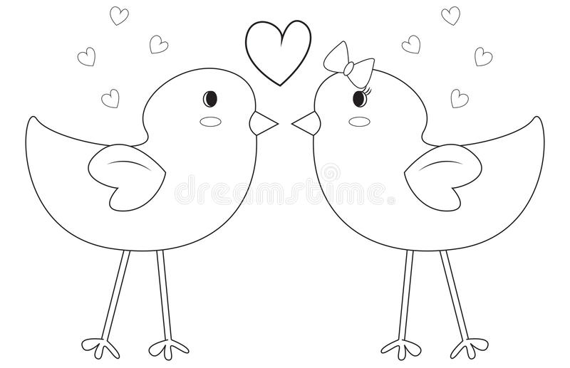 Birds coloring page vector illustration