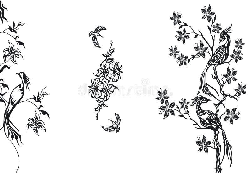 Birds design elements stock illustration