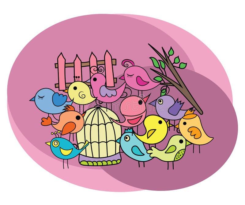 Birds design set. Cartoon free hand draw doodle royalty free illustration