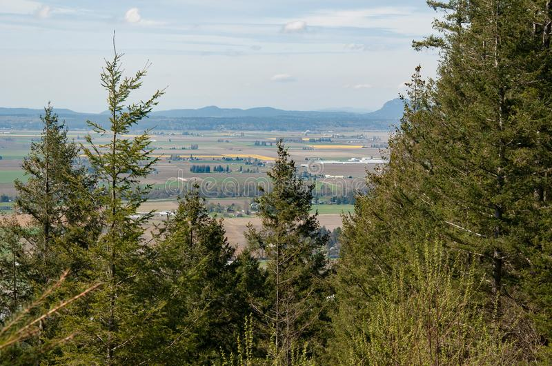 Birds Eye Landscape Skagit County Washington. This is a birds eye view landscape overlooking Skagit County or Skagit Valley Washington state.  In the distance stock photos