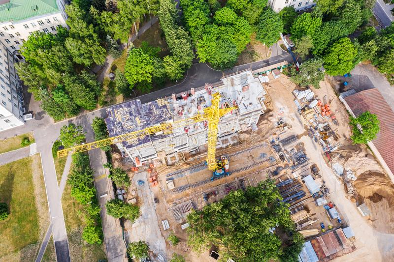 Birds eye view of apartment building under construction stock photography