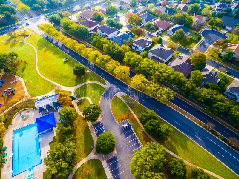 Birds Eye View Autumn Colors Aerial on Historic Homes in Austin , Texas stock image