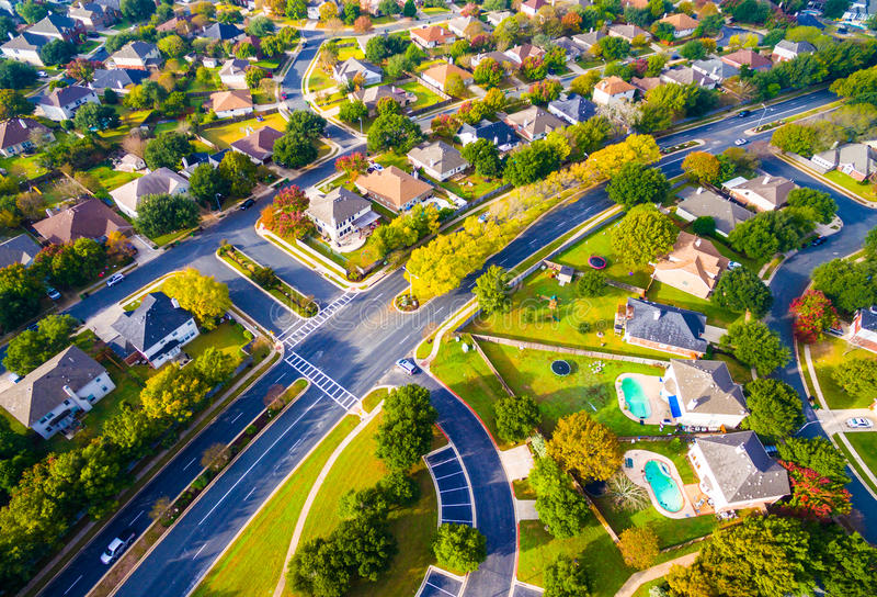 Birds Eye View Autumn Colors Aerial on Suburban Homes in Austin , Texas. Above Autumn Colors Aerial on Suburbs Homes in Austin , Texas. Looking down Birds Eye stock image