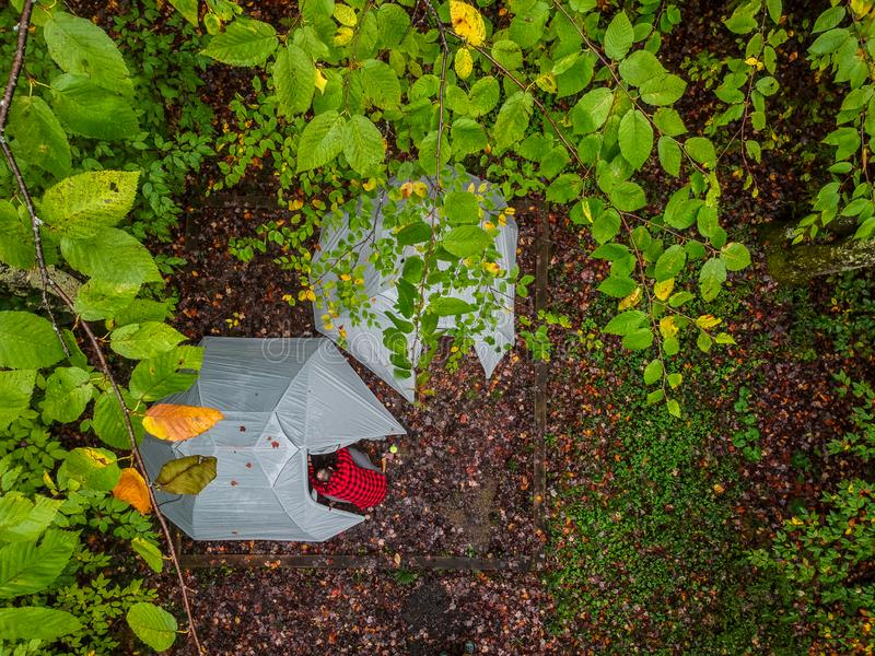 Birds Eye view of a campground royalty free stock photo