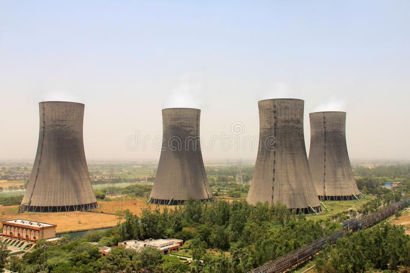 Birds eye view of 4 Cooling towers of Thermal Power Plant stock photography