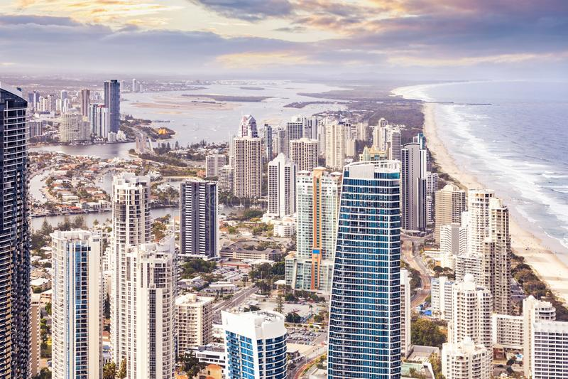 Birds eye view of Gold Coast city. stock images
