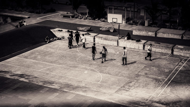 Birds Eye View And Grayscale Photo Of People Playing Basketball Free Public Domain Cc0 Image