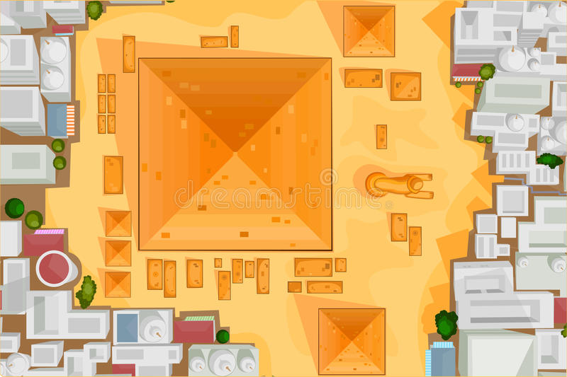 Birds eye view The Great Pyramid of Giza vector illustration