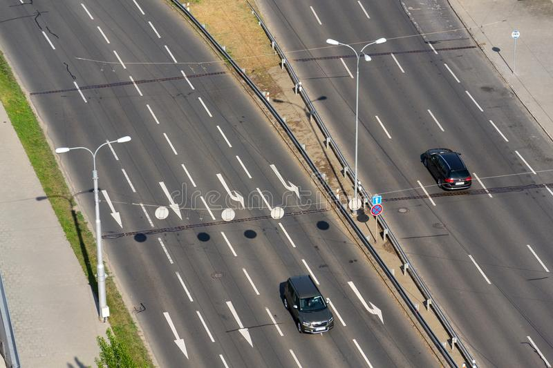 Birds eye view of half-empty road with cars, driverless technology concept. ZLIN, CZECH REPUBLIC - APRIL 29 2018: Birds eye view of half-empty road with cars royalty free stock photo