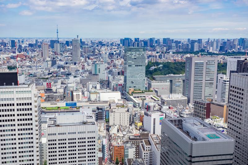Tokyo city daytime aerial, Japan royalty free stock photo