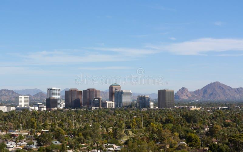 Birds eye view of Phoenix valley, AZ stock photos