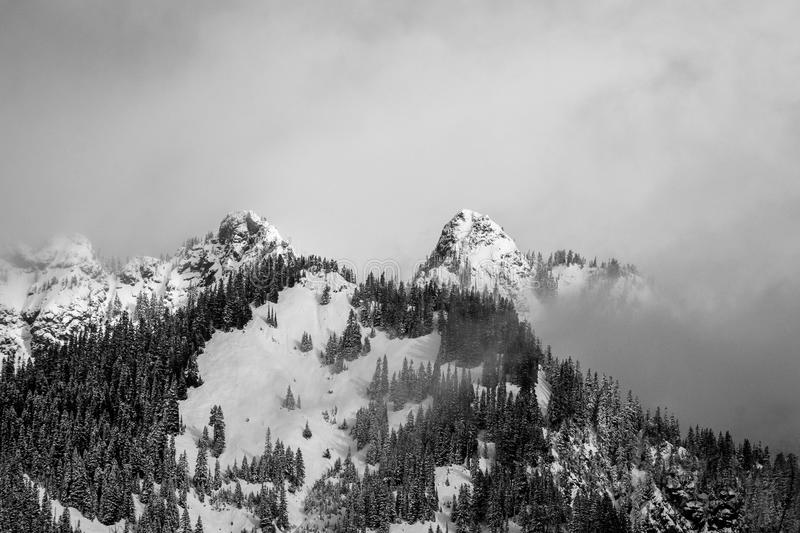 Birds Eye View Photo of Mountain during Winter stock photography