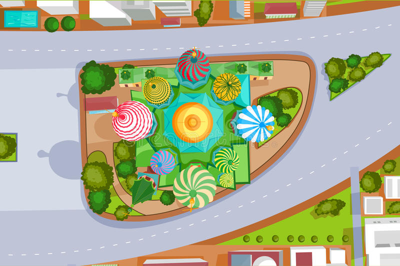 Birds eye view of Saint Basil's Cathedral. Vector design of birds eye view of Saint Basil's Cathedral stock illustration