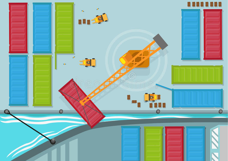 Birds Eye View of Shipping Container being moved into a shipping line. Editable Clip Art. stock illustration