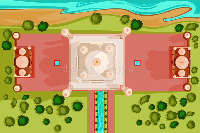 Birds eye view of Taj Mahal. Vector design of birds eye view of Taj Mahal royalty free illustration