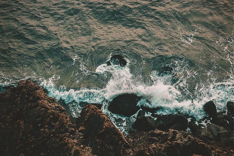 The birds eye view at the top of the sea royalty free stock photo