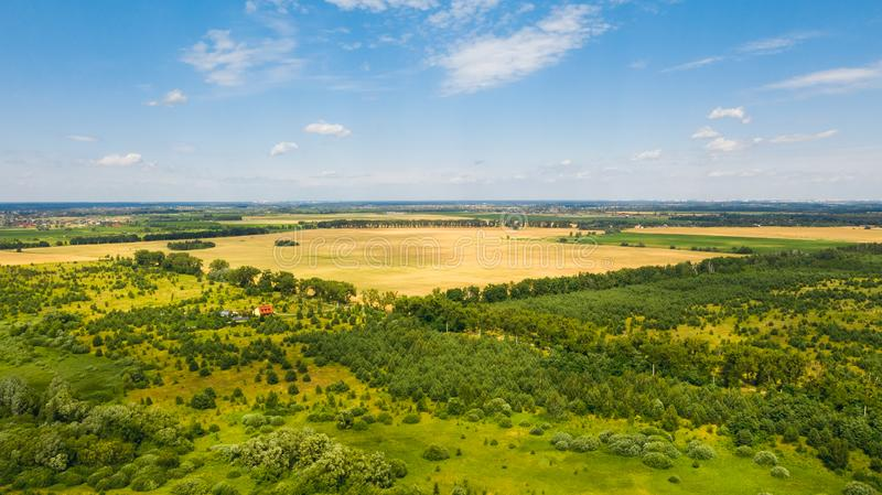 Birds eye view of Ukrainian landscape. Natural background on a sunny day. Beautiful birds eye view of Ukrainian landscape. Natural background on a sunny day stock photos