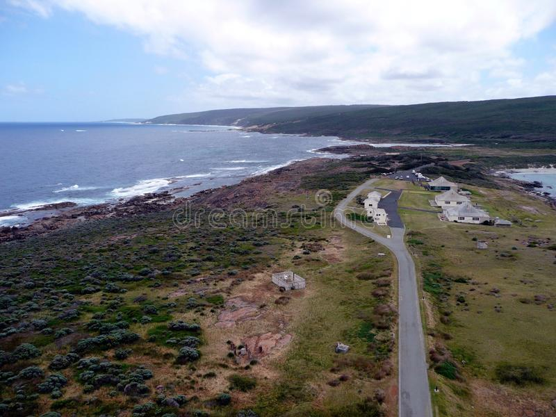 A birds eye view of a village in the Southwest corner of Western Australia. A birds eye view taken from Cape Leeuwin Lighthouse in the Southwest corner of royalty free stock images