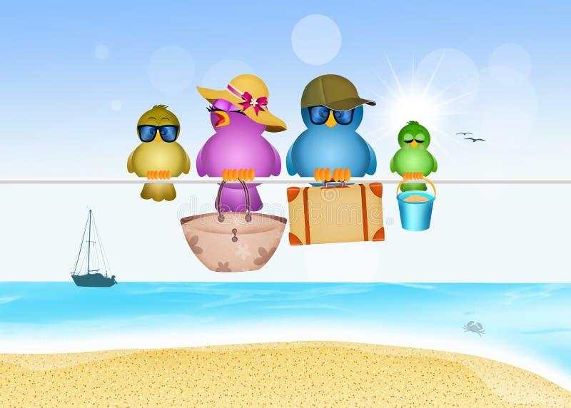 Birds family on the beach. Illustration of birds family on summer vacations royalty free illustration
