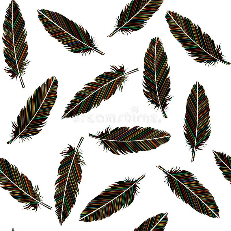 Birds feathers seamless. Feathers with colored lines pattern royalty free illustration