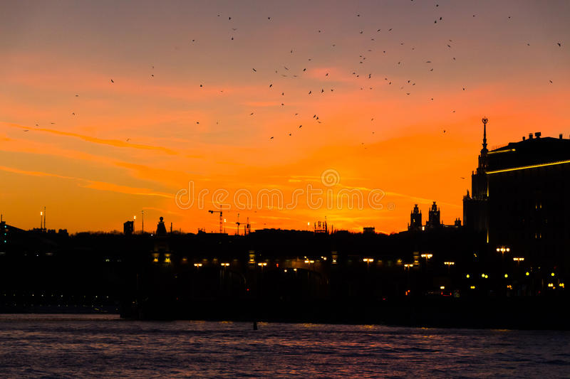 Birds flock and burning sunset at the Moscow river embankment royalty free stock photography