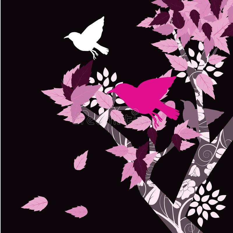 Birds and floral background vector illustration