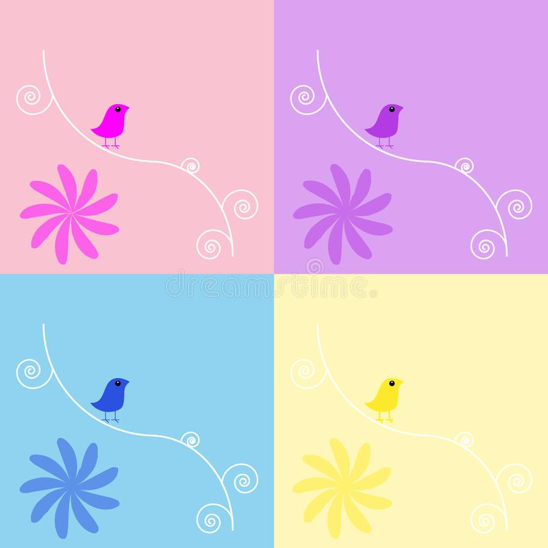 Birds Floral background set stock image