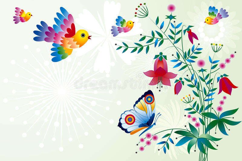 Birds and flowers stock illustration