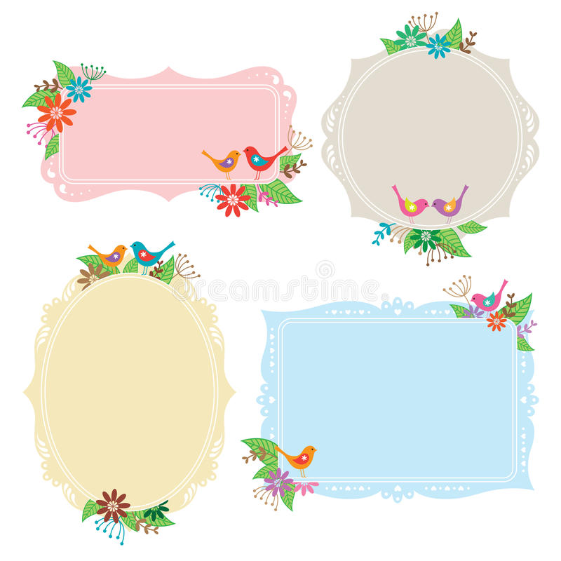 Birds and Flowers Frame Collection. Illustration of frames with bird, flower, and leaf elements vector illustration