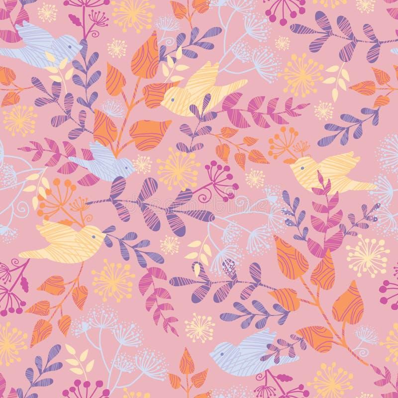 Birds among flowers seamless pattern background royalty free illustration