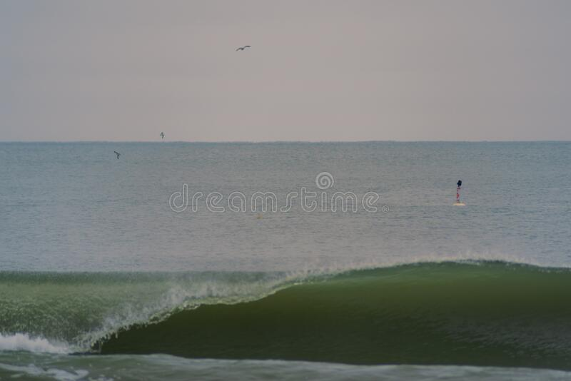 Birds Flying Over Ocean Waves stock photo