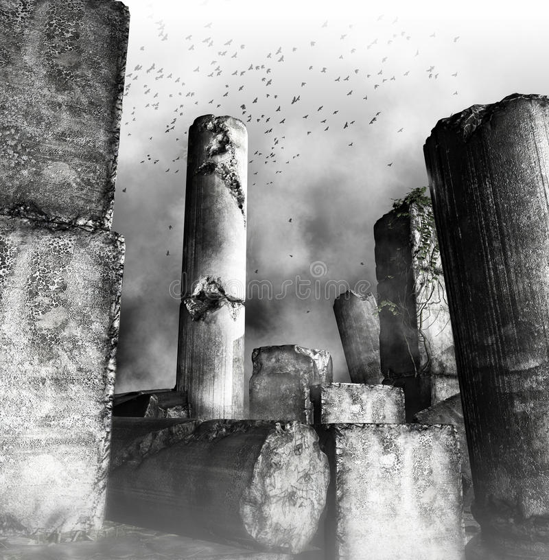 Download Birds Flying Over Ruined Columns Stock Illustration - Illustration of classical, black: 31828382