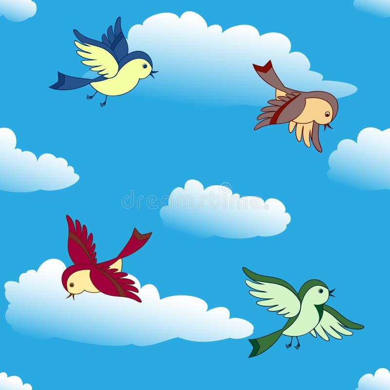 Birds flying in sky royalty free illustration