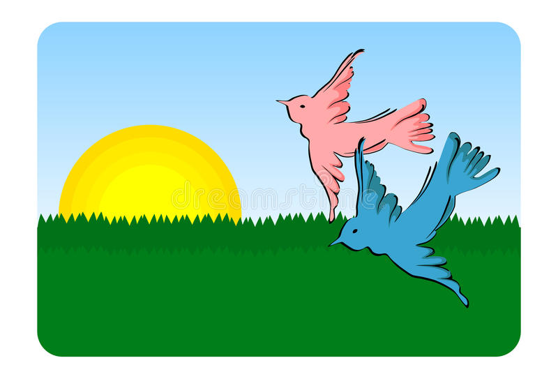 Birds flying - vector. Birds flying (pink and blue bird flying over green landscape royalty free illustration