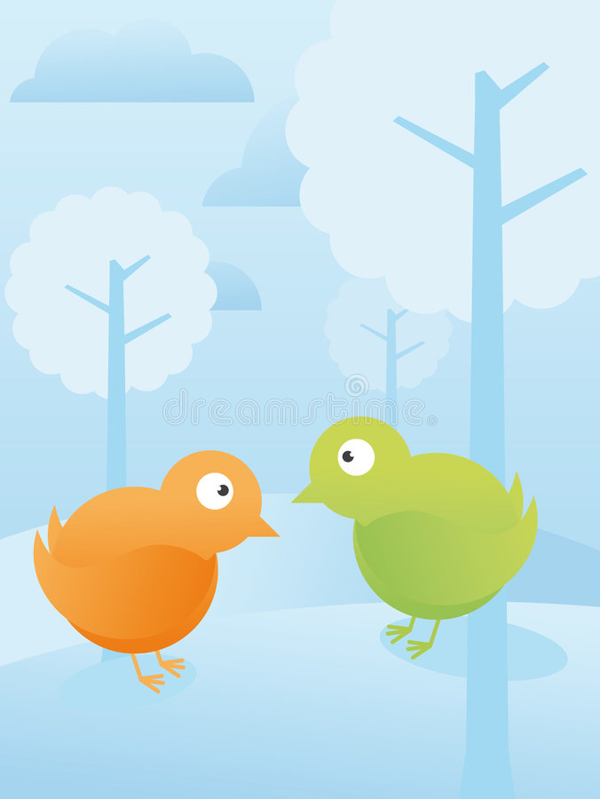 Birds in the forest vector illustration