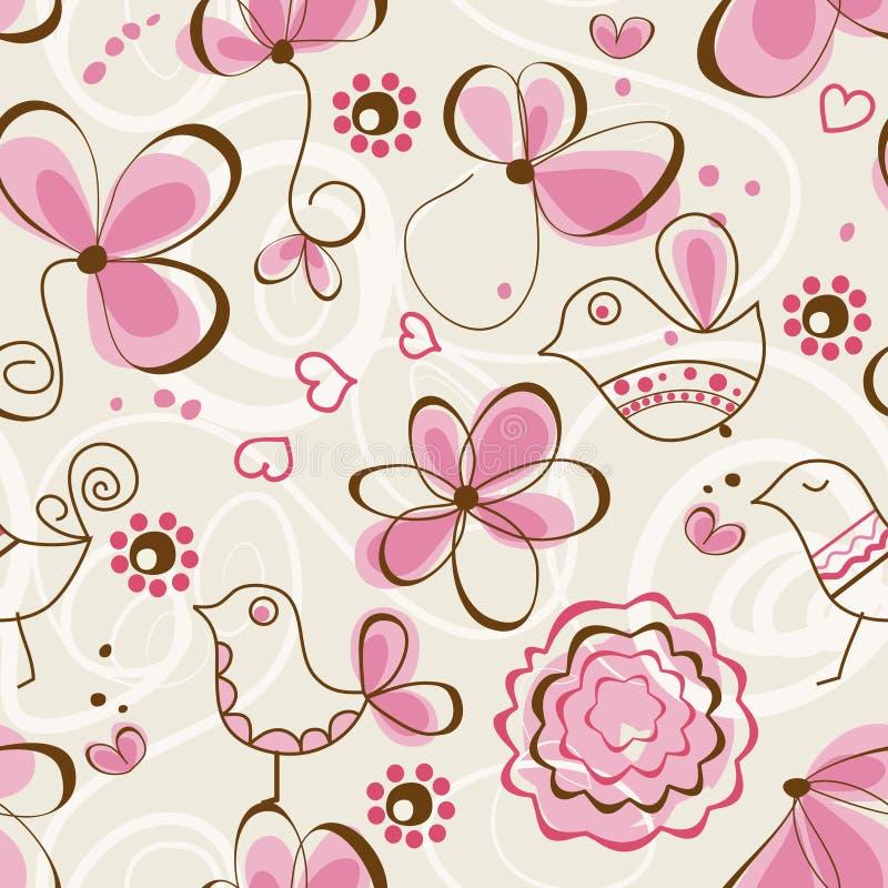 Birds garden seamless pattern royalty free illustration