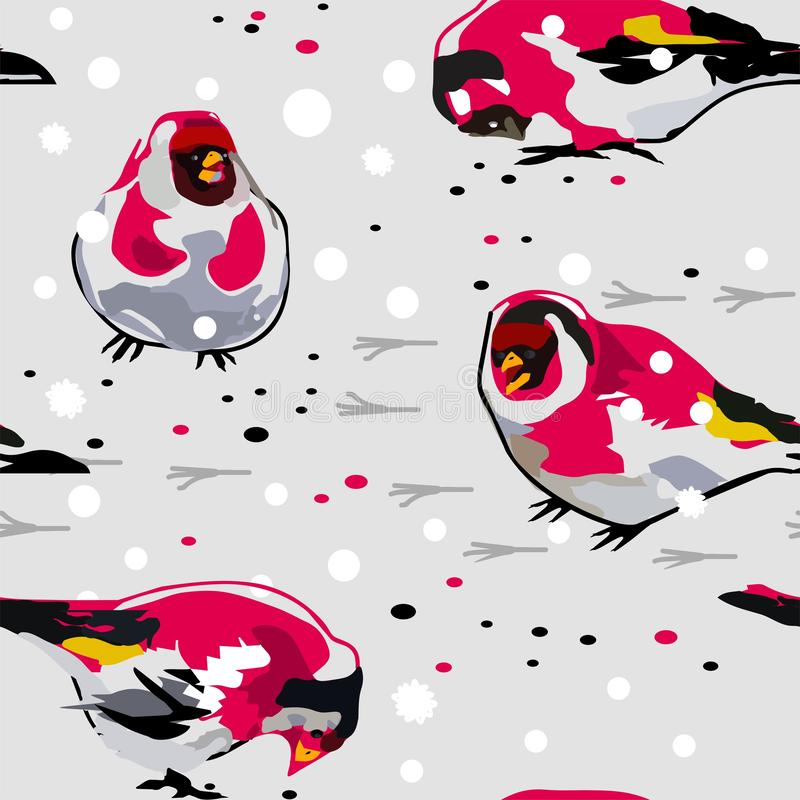 Birds Goldfinch on the snow vector illustration