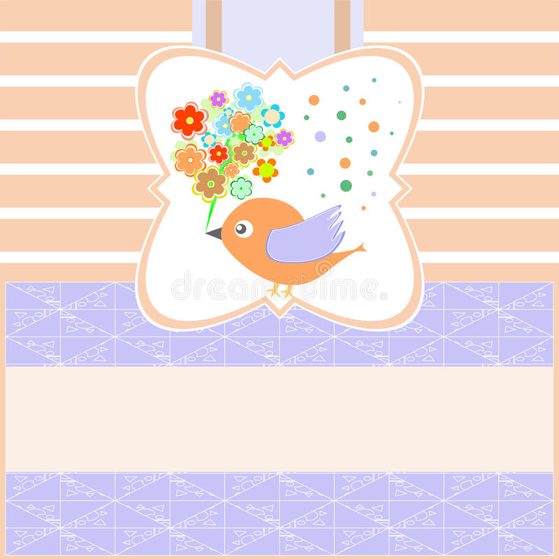 Download Birds With Greeting Flowers Card Blank Vector Stock Vector - Image: 21624099