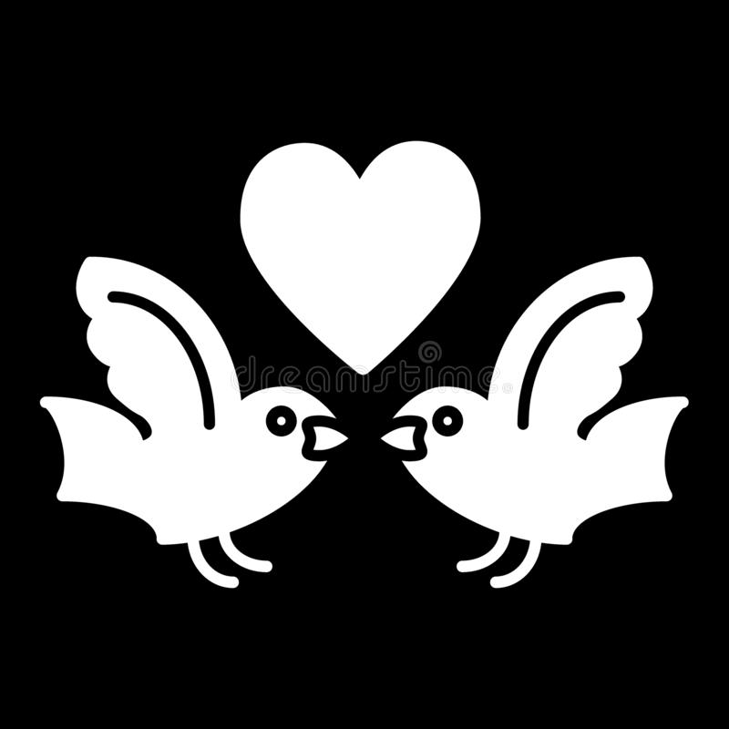 Birds and heart solid icon. Love birds vector illustration isolated on black. Flying birds and heart glyph style design stock illustration