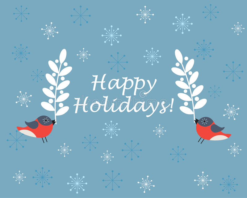 Birds holding branches on blue background with snowflakes stock illustration