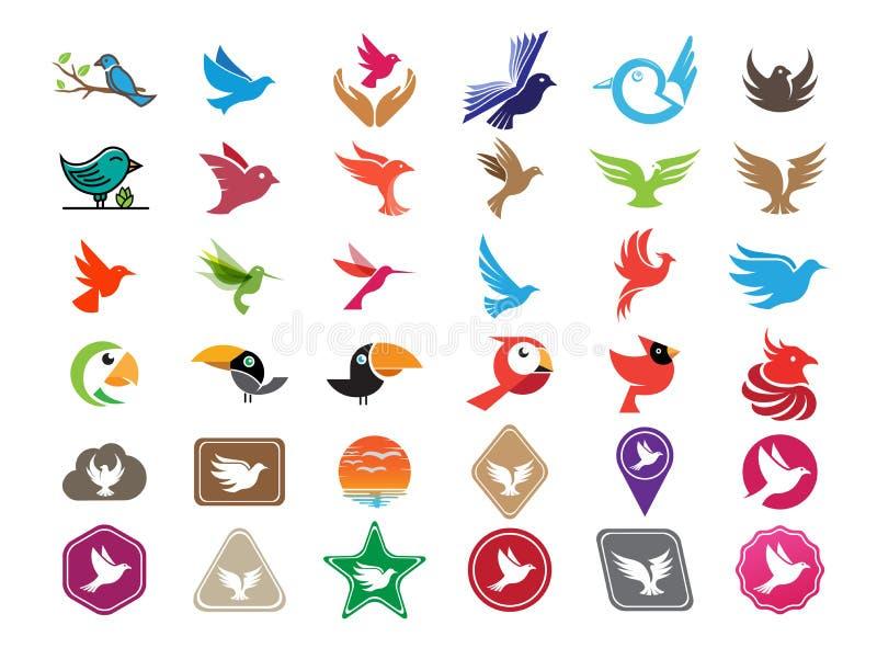 Birds 36 icons set logo design illustration on white background, multi flying animals symbol vector illustration