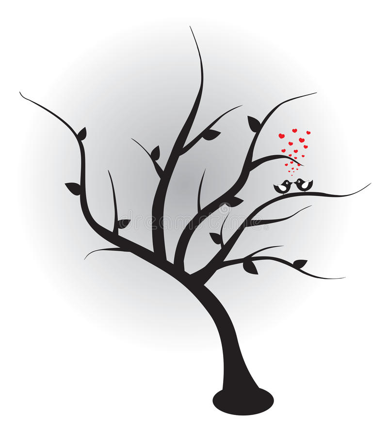 Free Birds In Love On The Tree. Vector Illustration. Royalty Free Stock Image - 20409346